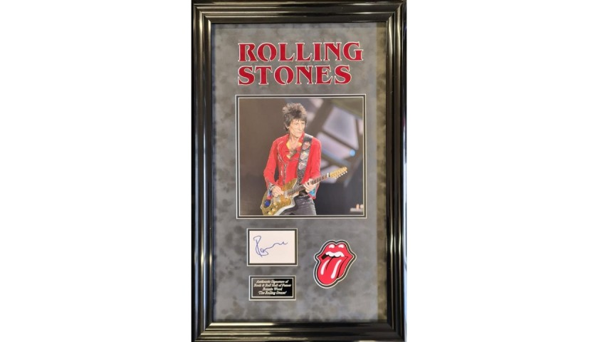Rolling Stones Display, Signed by Ronnie Wood